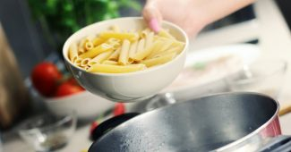 Kitchen pot with pasta
