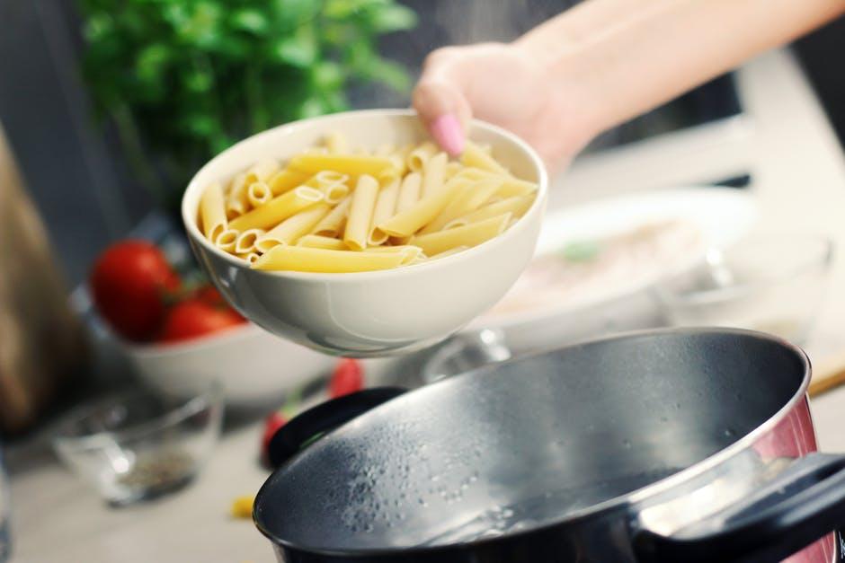 Kitchen pot with pasta